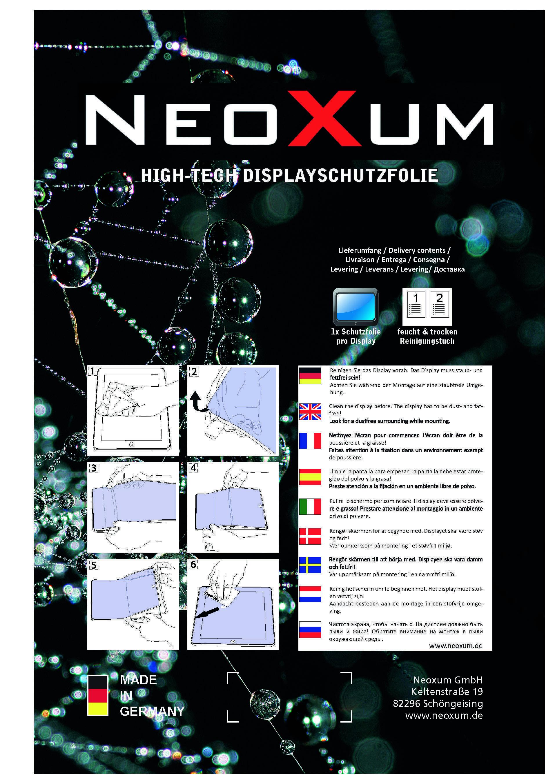 Neoxum Verpackung Displayschutz Tablet
